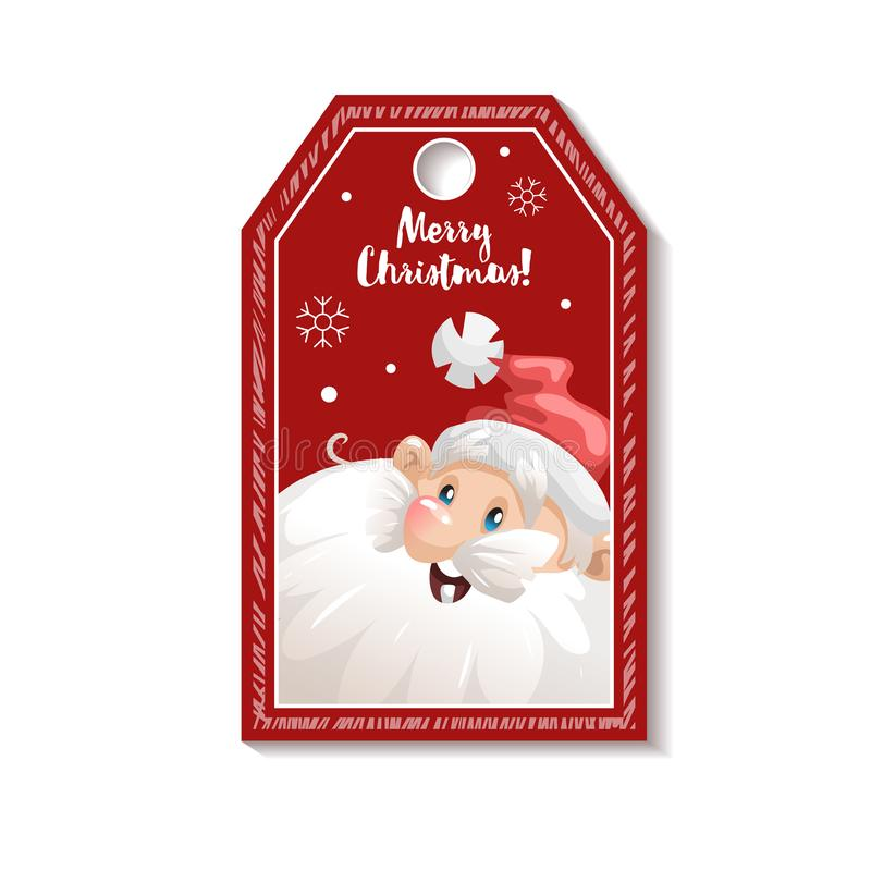 Cartoon looking red christmas tag or label with smiling santa claus download cartoon looking red christmas tag or label with smiling santa claus in hat gift stopboris Image collections