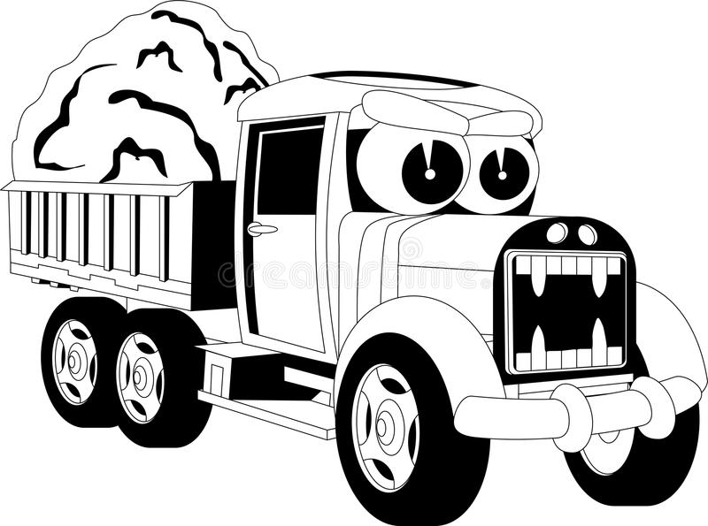 Cartoon lorry car. Black and white illustration of a cartoon car vector illustration