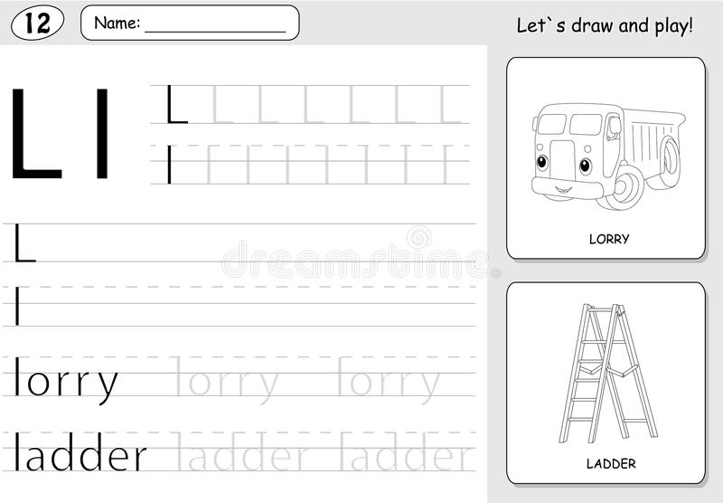 Cartoon lorry and ladder. Alphabet tracing worksheet: writing A-Z and educational game for kids. Cartoon lorry and ladder. Alphabet tracing worksheet: writing A royalty free illustration