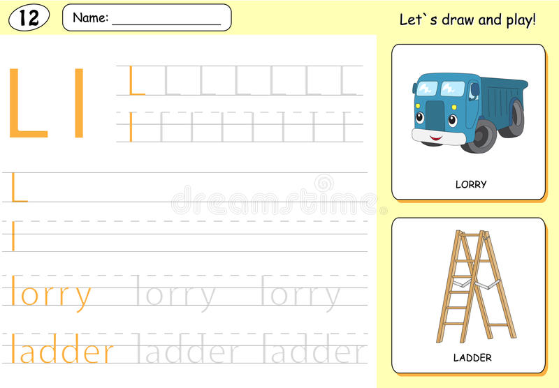 Cartoon lorry and ladder. Alphabet tracing worksheet. Writing A-Z, coloring book and educational game for kids stock illustration