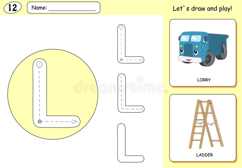 Cartoon lorry and ladder. Alphabet tracing worksheet. Writing A-Z, coloring book and educational game for kids vector illustration