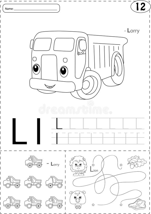 Cartoon lorry and lion. Alphabet tracing worksheet: writing A-Z. Coloring book and educational game for kids royalty free illustration