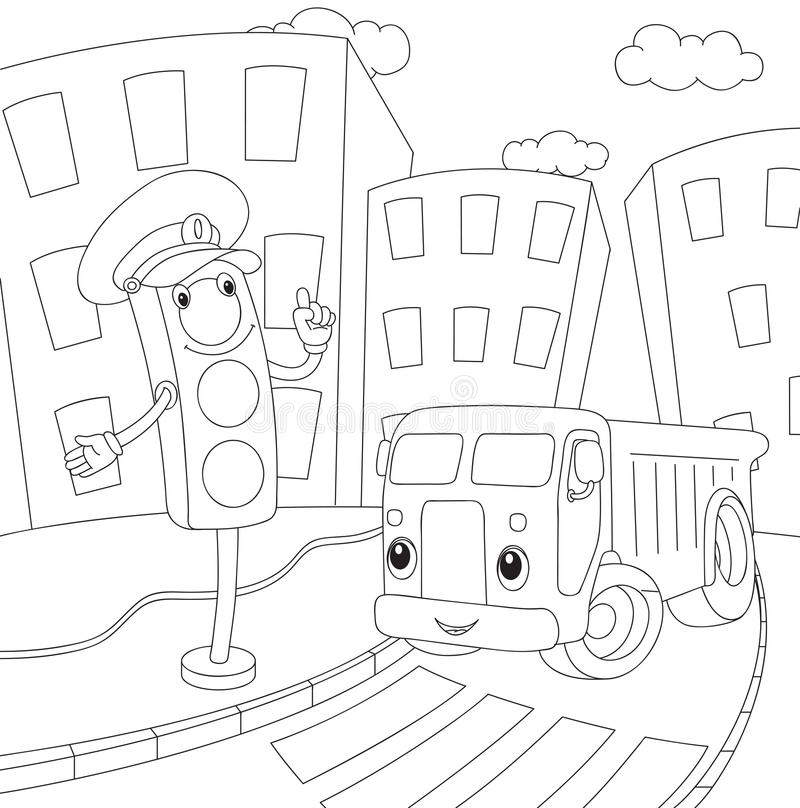 Cartoon lorry and traffic lights coloring book for kids for Traffic light coloring pages