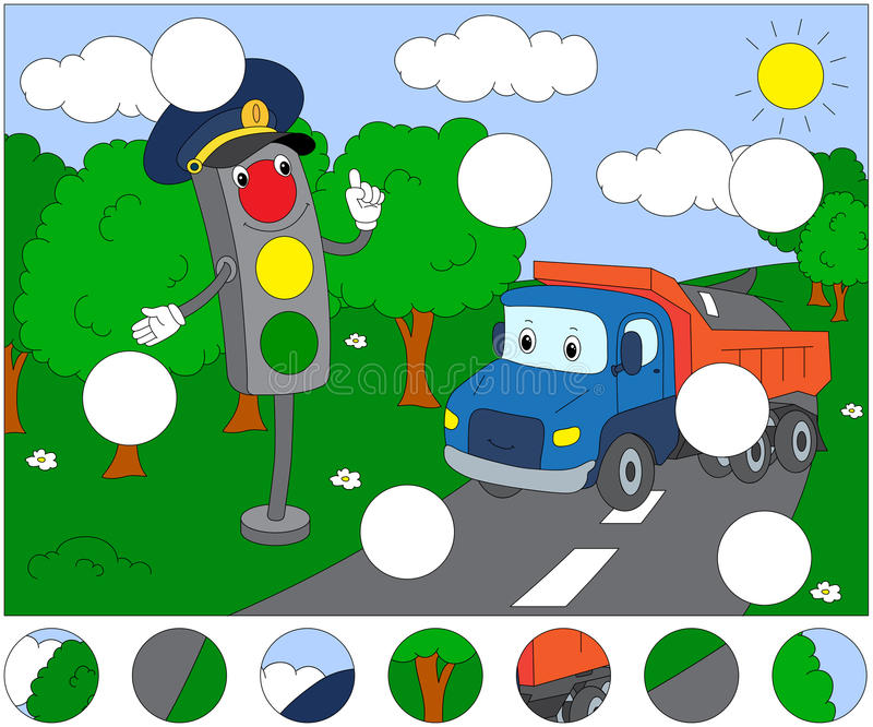 Cartoon lorry and traffic lights. Complete the puzzle and find t. He missing parts of the picture. Educational game for kids stock illustration