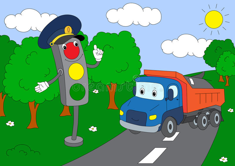 Cartoon lorry and traffic lights. Vector illustration royalty free illustration