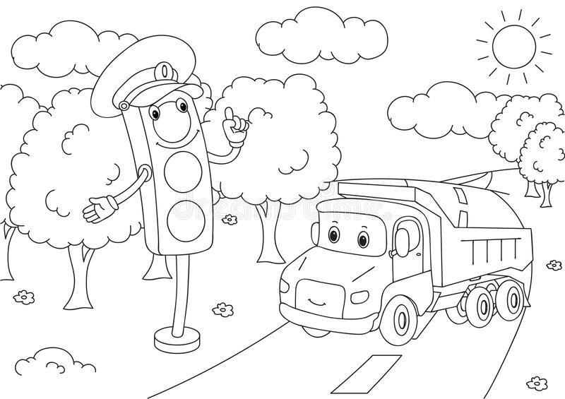 Cartoon lorry with traffic lights. Vector illustration. Coloring book vector illustration