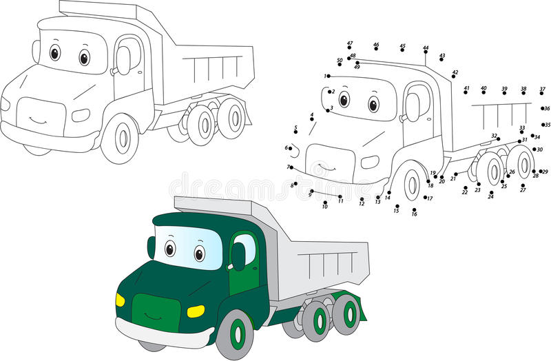 Cartoon lorry. Vector illustration. Coloring and dot to dot game. Cartoon lorry. Coloring and dot to dot educational game for kids. Vector illustration vector illustration