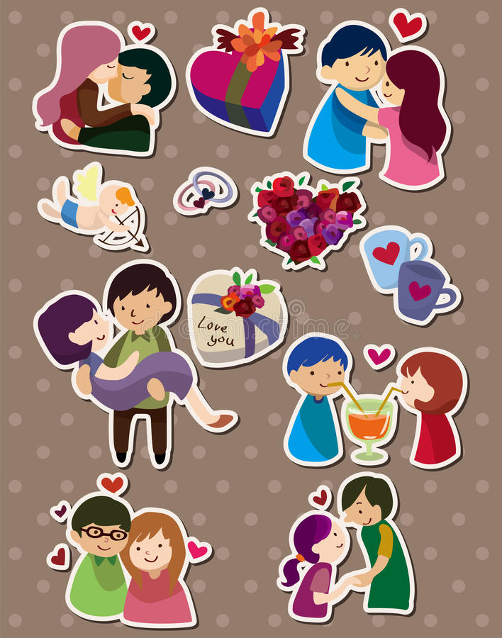 Cartoon Love Stickers Stock Vector Illustration Of Heart