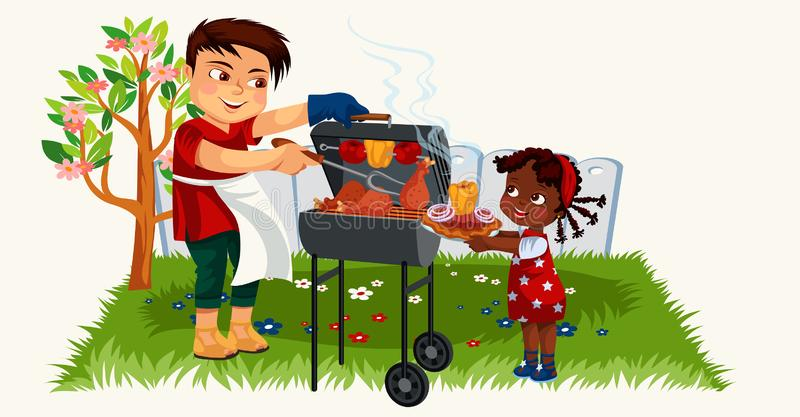 Cartoon lovely father cooking for little daughter. Hispanic pretty girl holding plate with tasty food vector illustration. Summer bbq family time and bank stock illustration