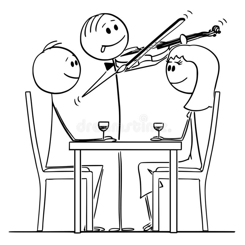 Cartoon of Loving Couple of Man and Woman Sitting Behind Table in Restaurant While Violinist is Playing Romantic Music. Cartoon stick figure drawing conceptual vector illustration