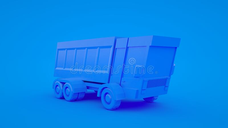 Cartoon low poly truck 3d rendering, geometric scene on blue pastel background vector illustration
