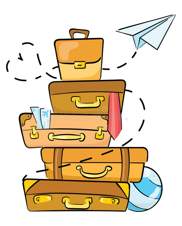 Cartoon luggage for traveling. Illustration for travel agencies. A lot of luggage lying on top of each other. Drawing stock illustration