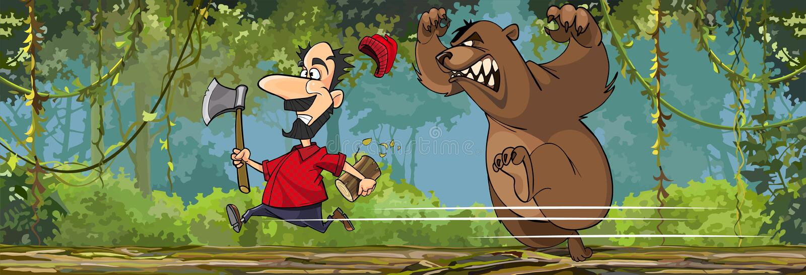 Cartoon lumberjack with an ax is running away from an angry bear stock illustration