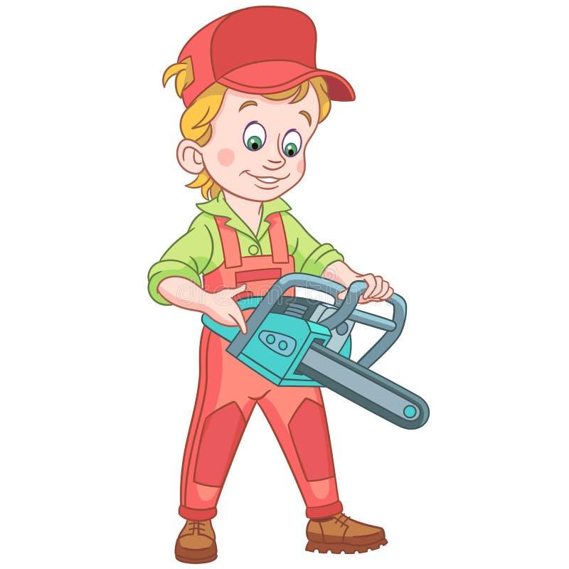 Cartoon lumberjack with chainsaw stock photo