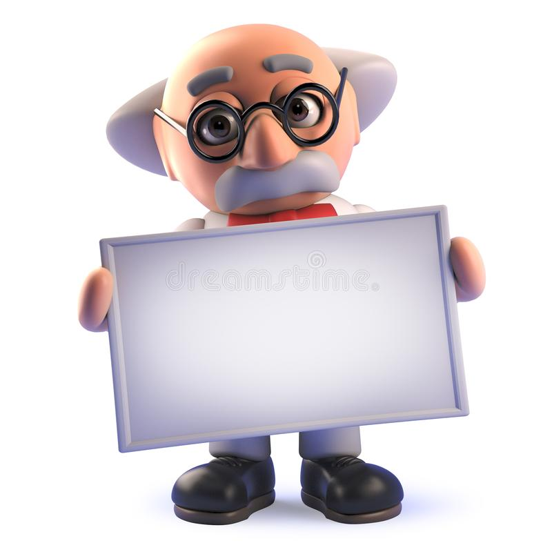 Cartoon mad scientist professor character in 3d holding a blank banner. Rendered 3d image of a cartoon mad scientist professor character in 3d holding a blank vector illustration