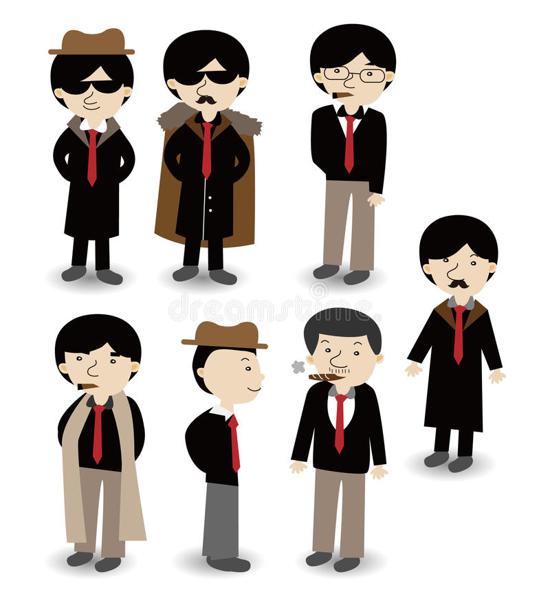 Download Cartoon mafia icon set stock vector. Image of character - 19802377