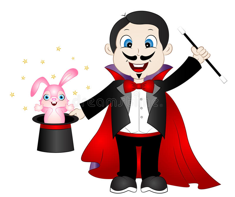 Cartoon Magician with Bunny in Hat vector illustration