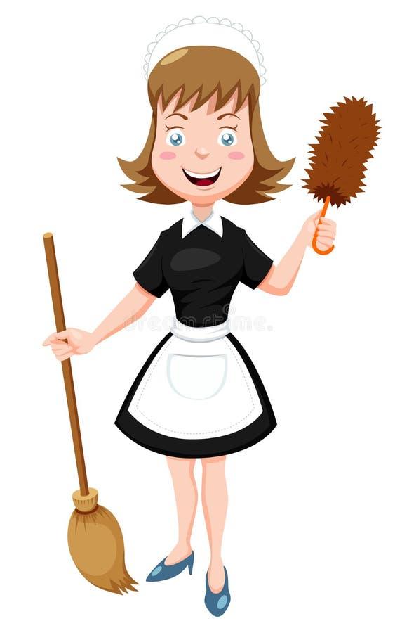 Cartoon Maid with broom vector illustration