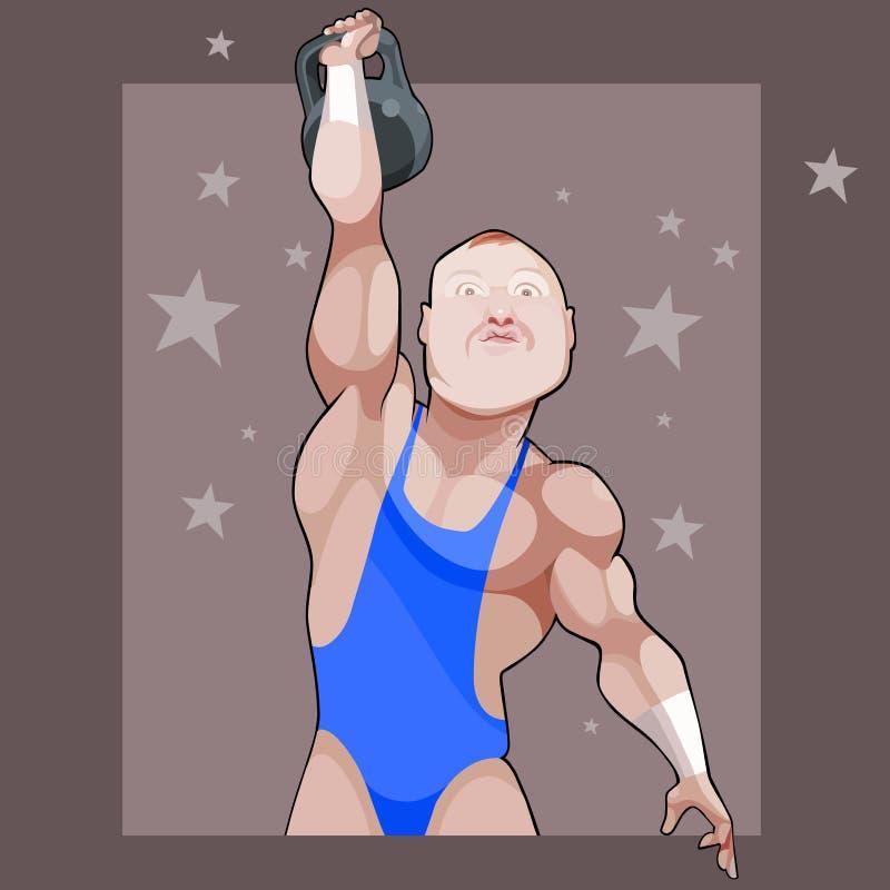 Cartoon male athlete raises his weight on a background with stars. Cartoon male athlete raises his kettlebell on a background with stars royalty free illustration