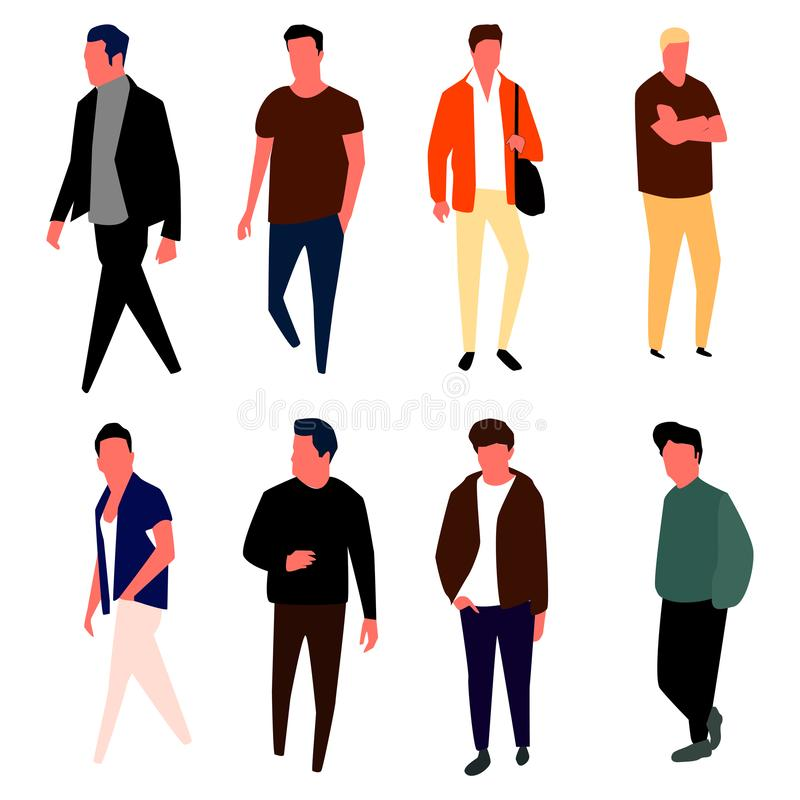 Cartoon male characters. Men in fashion clothes. Vector. royalty free illustration