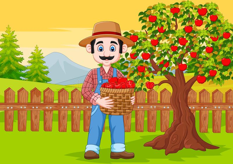 Cartoon male farmer holding apple basket at the farm royalty free illustration
