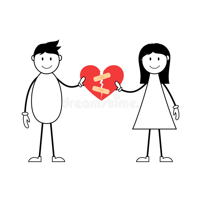 Cartoon male and femal stick figures joining broken heart. Cartoon male and female stick figures joining broken heart shape royalty free illustration