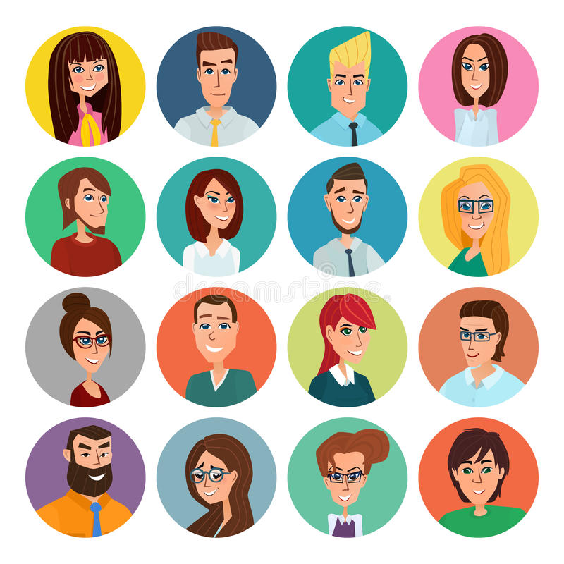 Cartoon male and female faces collection. Vector collection icon set of colorful people modern flat design. Avatars characters of. Men and women stock illustration