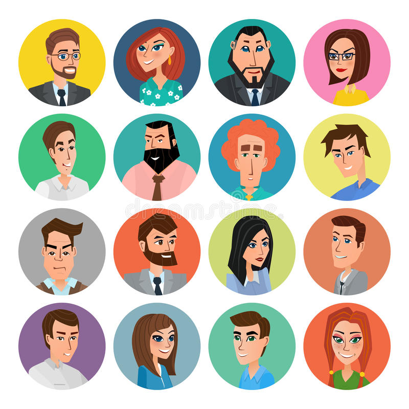 Cartoon male and female faces collection. Vector collection icon set of colorful people modern flat design. Avatars characters of. Men and women royalty free illustration