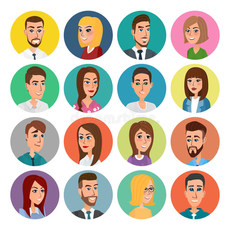 Cartoon male and female faces collection. Vector icon set of colorful people modern flat design. Avatars characters men women. Cartoon male and female faces royalty free illustration