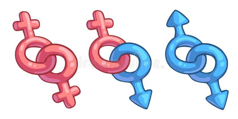 Cartoon male and female symbols combination. Vector cartoon male and female symbols combination royalty free illustration