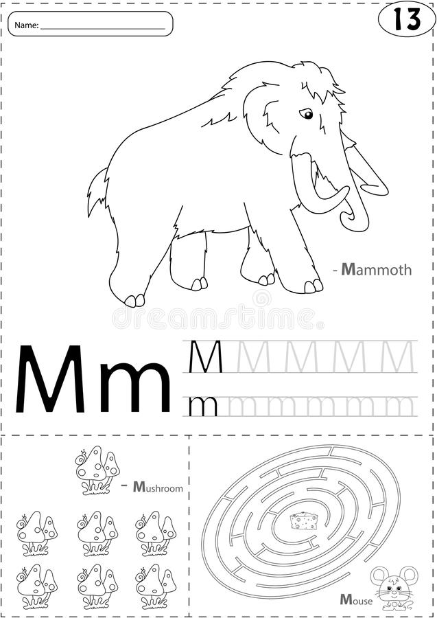 Printable Worksheets the mouse and the motorcycle worksheets : Cartoon Mammoth, Mushroom And Mouse. Alphabet Tracing Worksheet ...