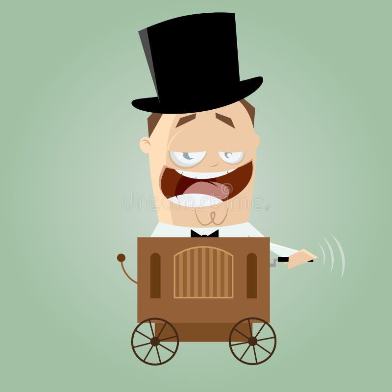 Cartoon man with barrel organ royalty free illustration