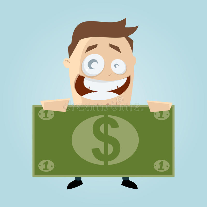 Cartoon man with big bank note royalty free illustration