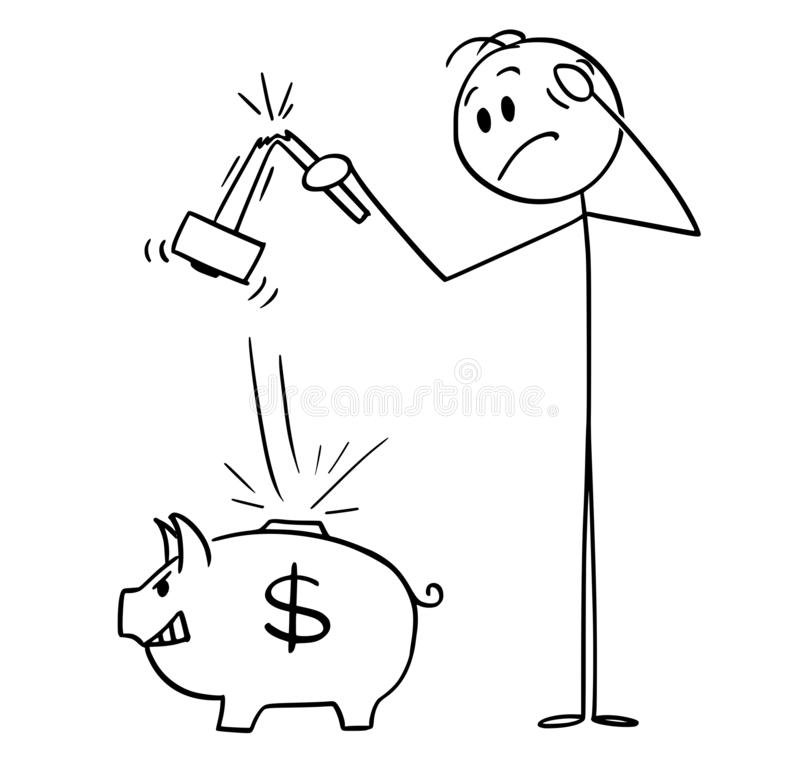Cartoon of Man with Broken Hammer Who Tried to Break Piggy bank and Get His Money stock illustration