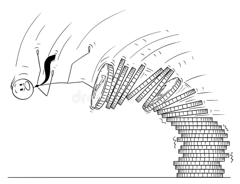 Cartoon of Man or Businessman Falling From Pile of Coins. Cartoon stick drawing conceptual illustration of man or businessman falling from pile of coins royalty free illustration