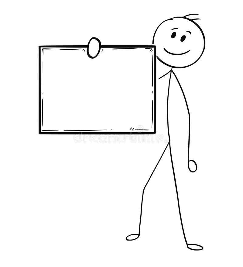 Cartoon of Man or Businessman Holding Empty or Blank Sign stock illustration
