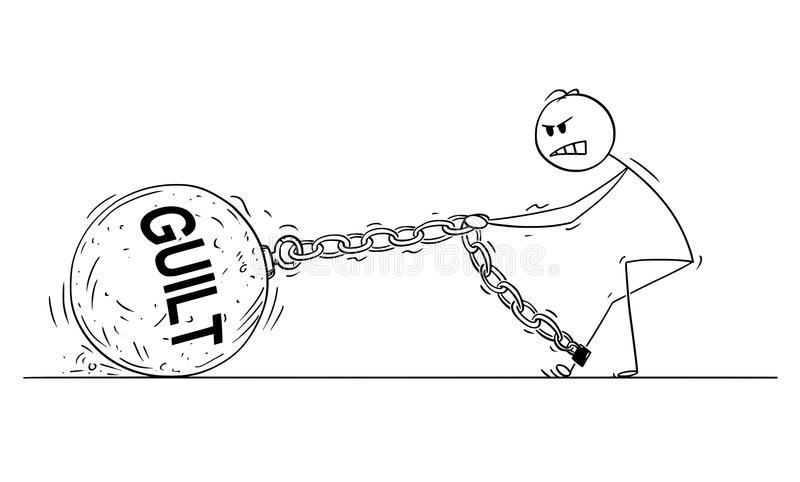 Cartoon of Man or Businessman Pulling Big Iron Ball With Guilty Text Chained to His Leg. Cartoon stick drawing conceptual illustration of man or businessman vector illustration