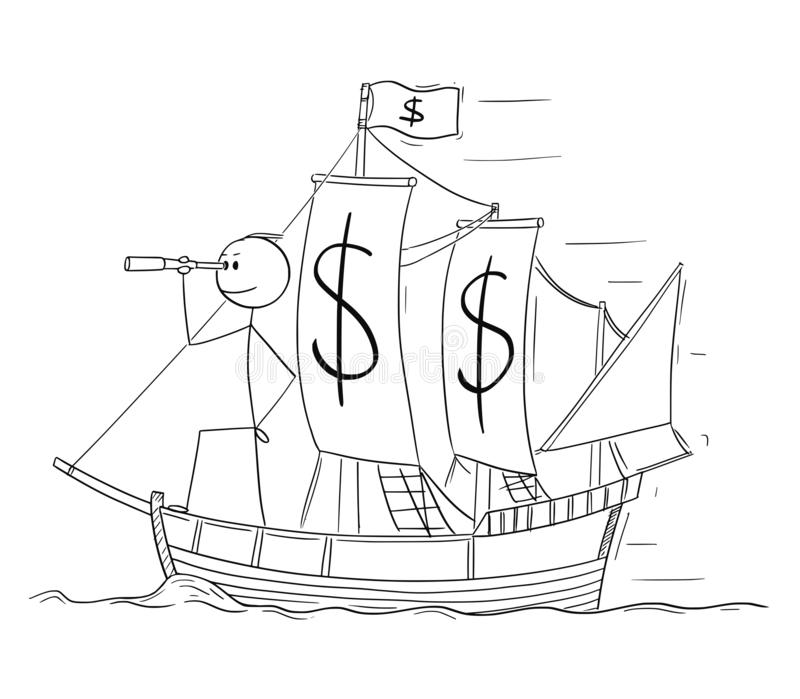 Cartoon of Man or Businessman Standing as Captain on the Sailing Boat Dollar Currency Deck and Looking Through Spyglass vector illustration