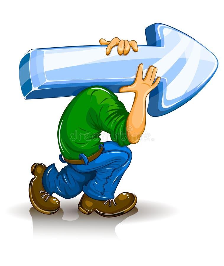 Download Cartoon Man Carry Heavy Arrow Stock Vector - Image: 15604203