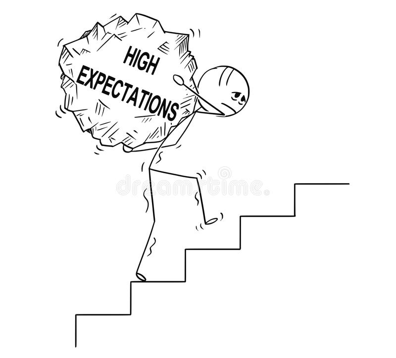 Cartoon of Man Carrying Upstairs Big Piece of Rock With Text High Expectations stock illustration