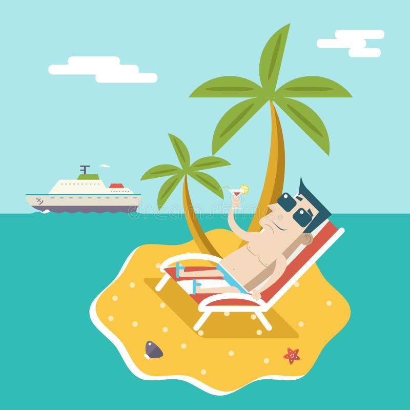 Cartoon Man Character Summer Travel Vacation Sea Island Mobile Ocean Sky Background Modern Flat Design Vector. Cartoon Man Character Summer Travel Vacation Sea royalty free illustration
