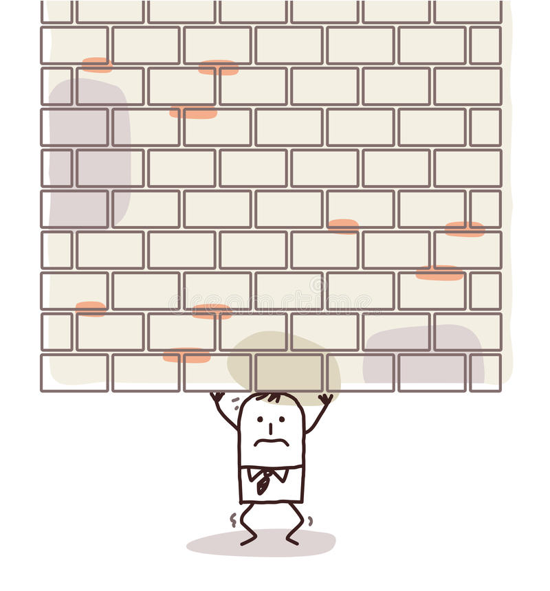 Cartoon man crushed under a heavy wall royalty free stock photo