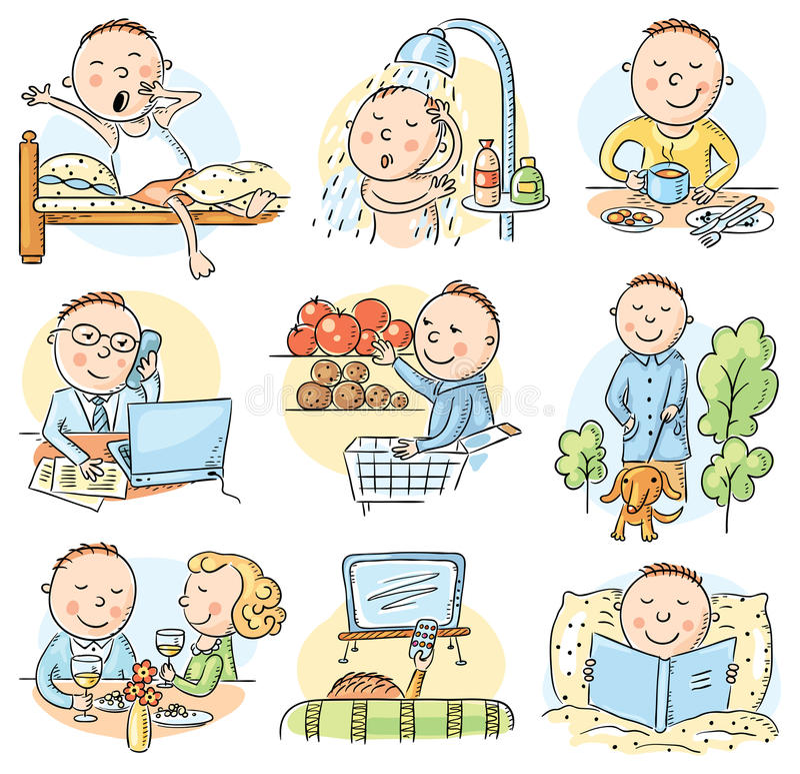 Free Cartoon Man Daily Activities Royalty Free Stock Photos - 50096438