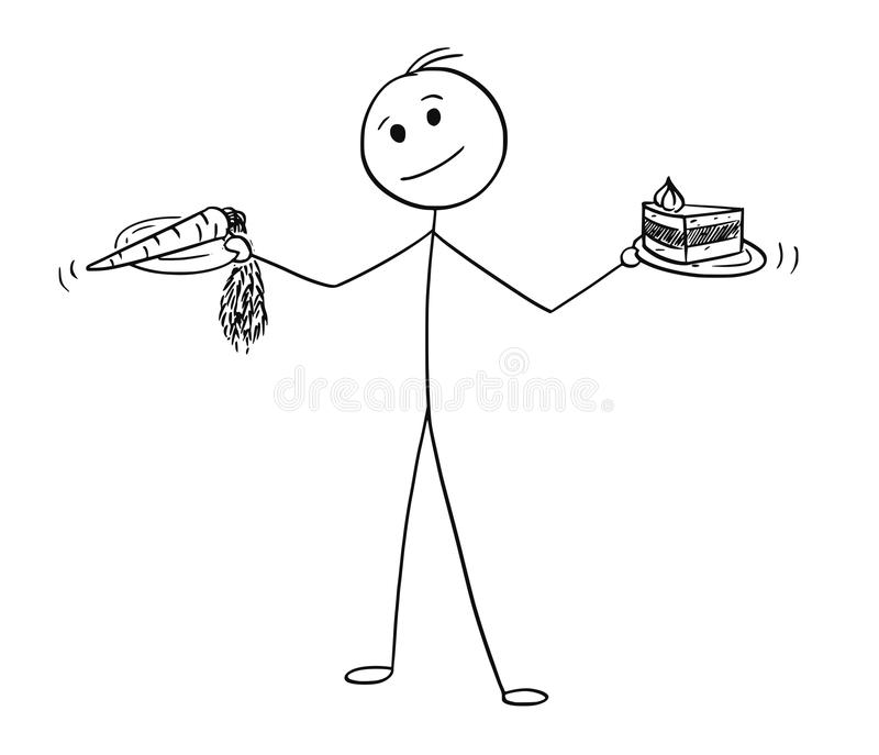 Cartoon of Man Deciding with Healthy and Unhealthy Food in Hands stock illustration