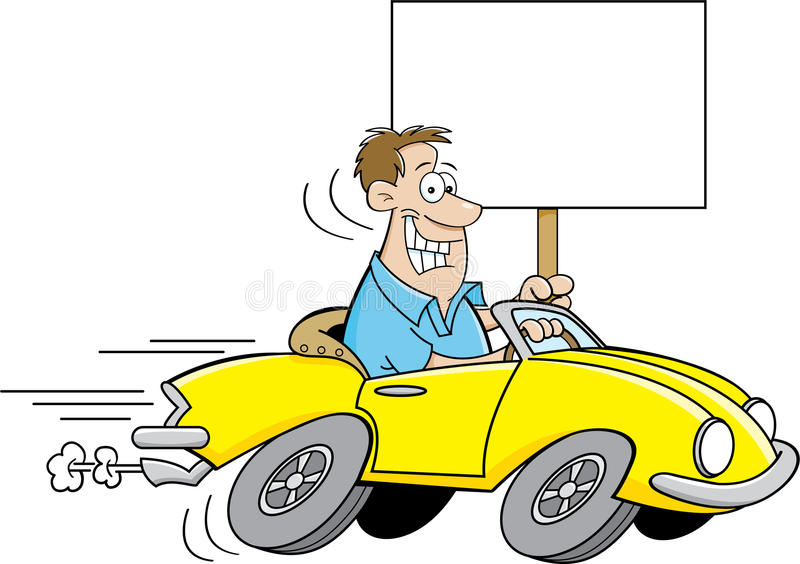 Cartoon man driving a car and holding a sign. Cartoon illustration of a man driving a car and holding a sign stock illustration