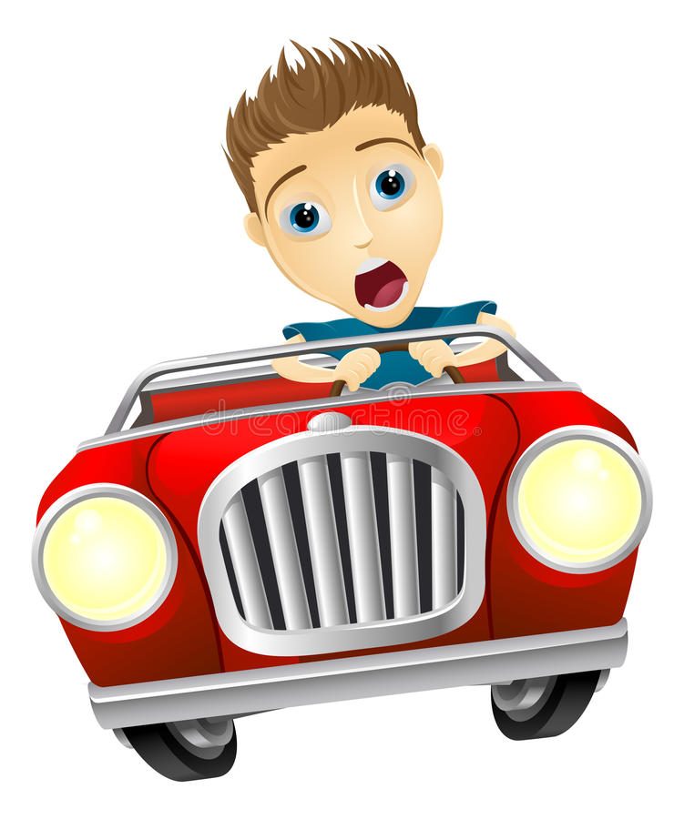 Cartoon man driving fast car. Cartoon young man looking very scared driving fast in convertible sports car vector illustration