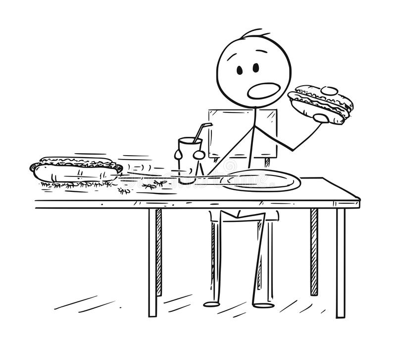 Cartoon of Man Eating Hotdog and Drinking Cola While Ants Are Stealing Second Hotdog vector illustration