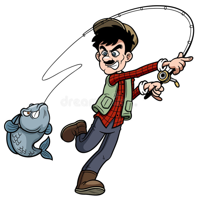 Cartoon man fishing stock illustration