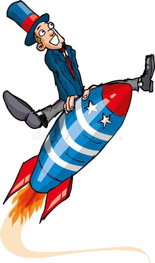 Cartoon Man On A Flying Rocket Stock Images