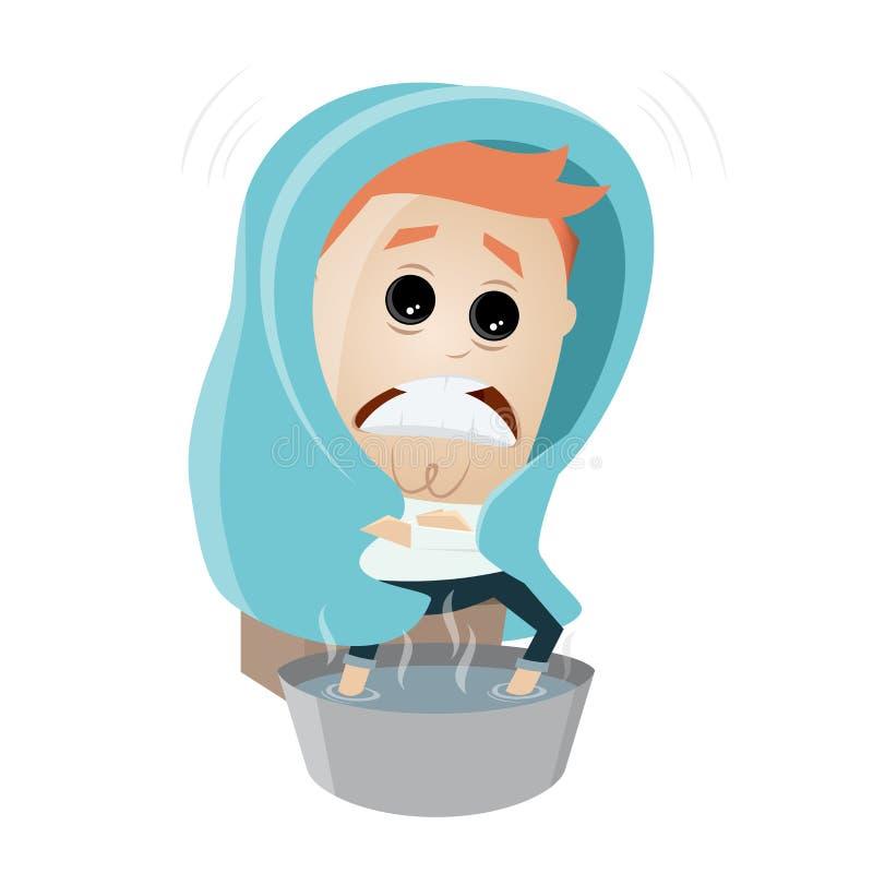 Cartoon man is freezing. Clipart of a freezing man stock illustration